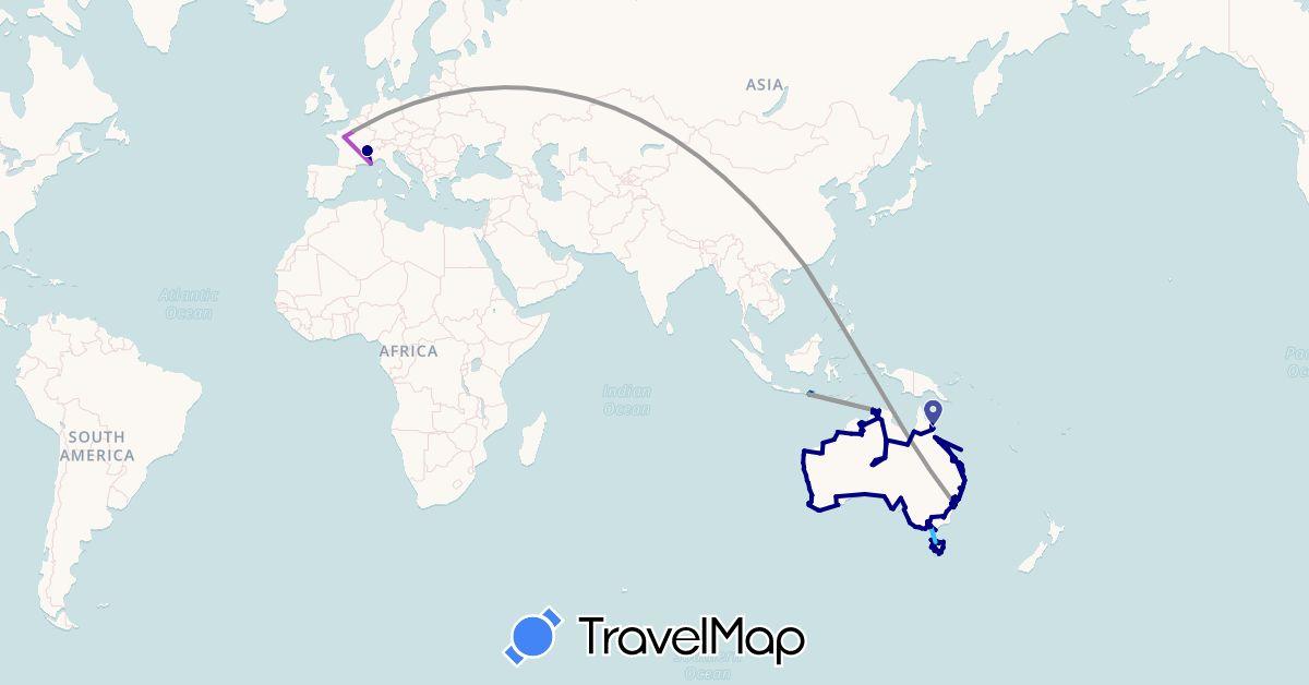 TravelMap itinerary: driving, bus, plane, train, boat, motorbike in Australia, France, Hong Kong, Indonesia (Asia, Europe, Oceania)